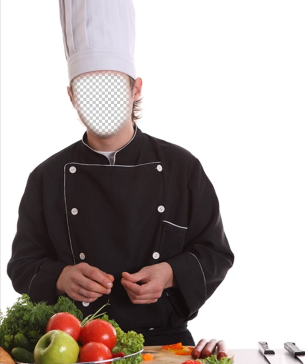 Photomontage Of A Chef With Hat And Uniform Cooking To