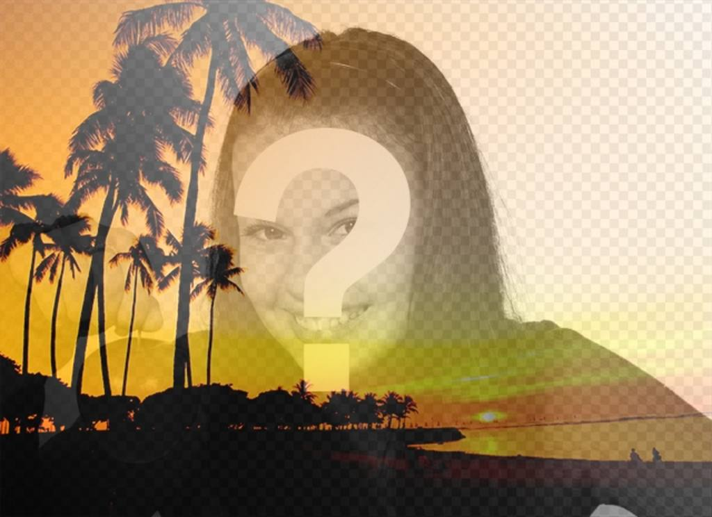 Create a collage with a summer landscape with a beach and palm trees with orange tones and a picture of you online and free