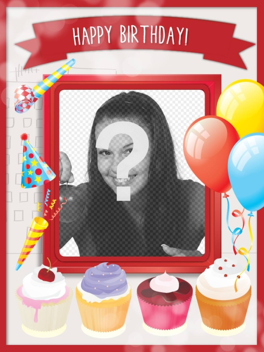 Birthday card with sweet cakes and festive decoration with balloons and red frame to put a picture