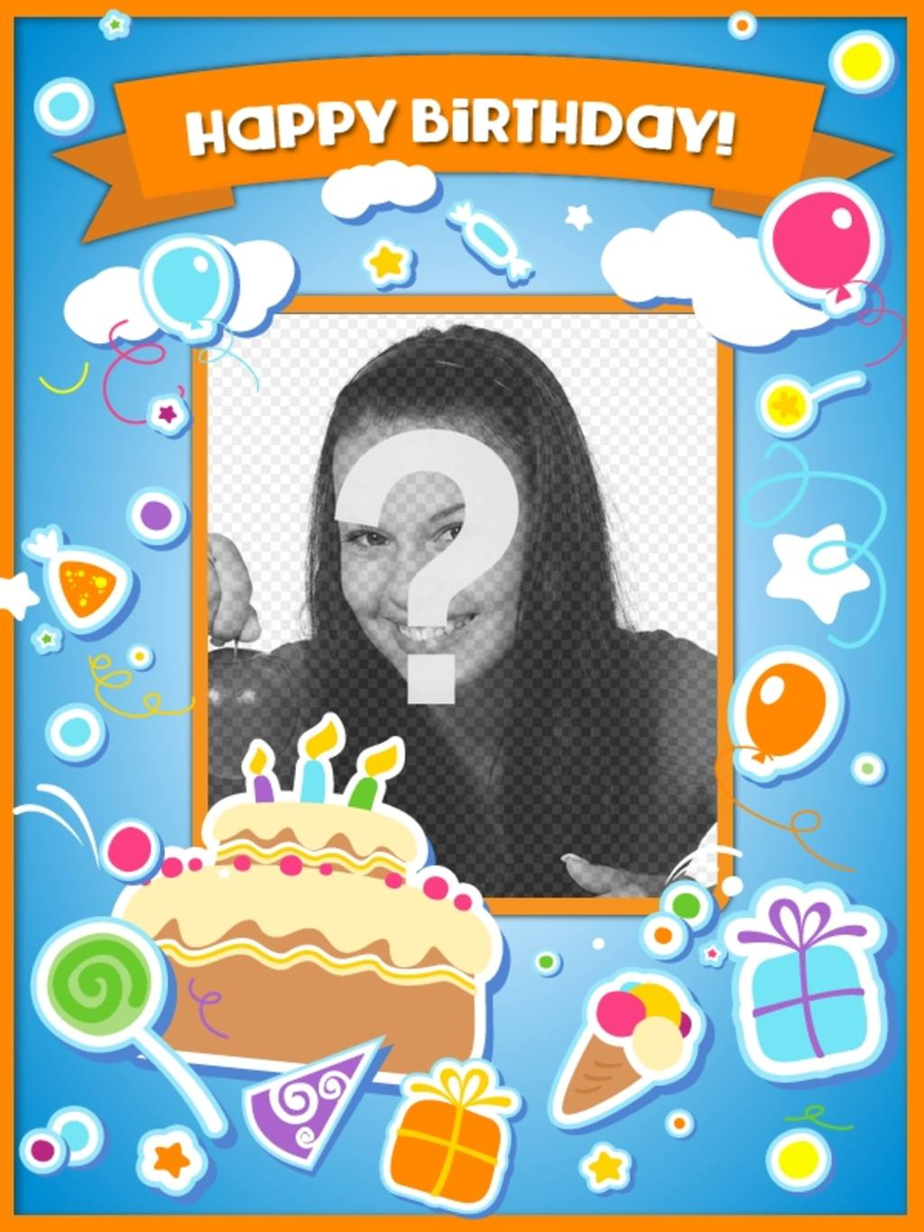 Birthday card to congratulate the birthday and put a picture online with a cake, balloons and gifts with sticker effect