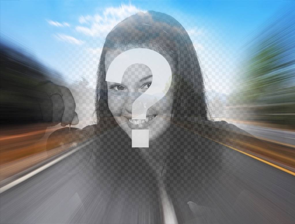 Filter with a photo of a road on the highway to create a collage online with your photo in the center