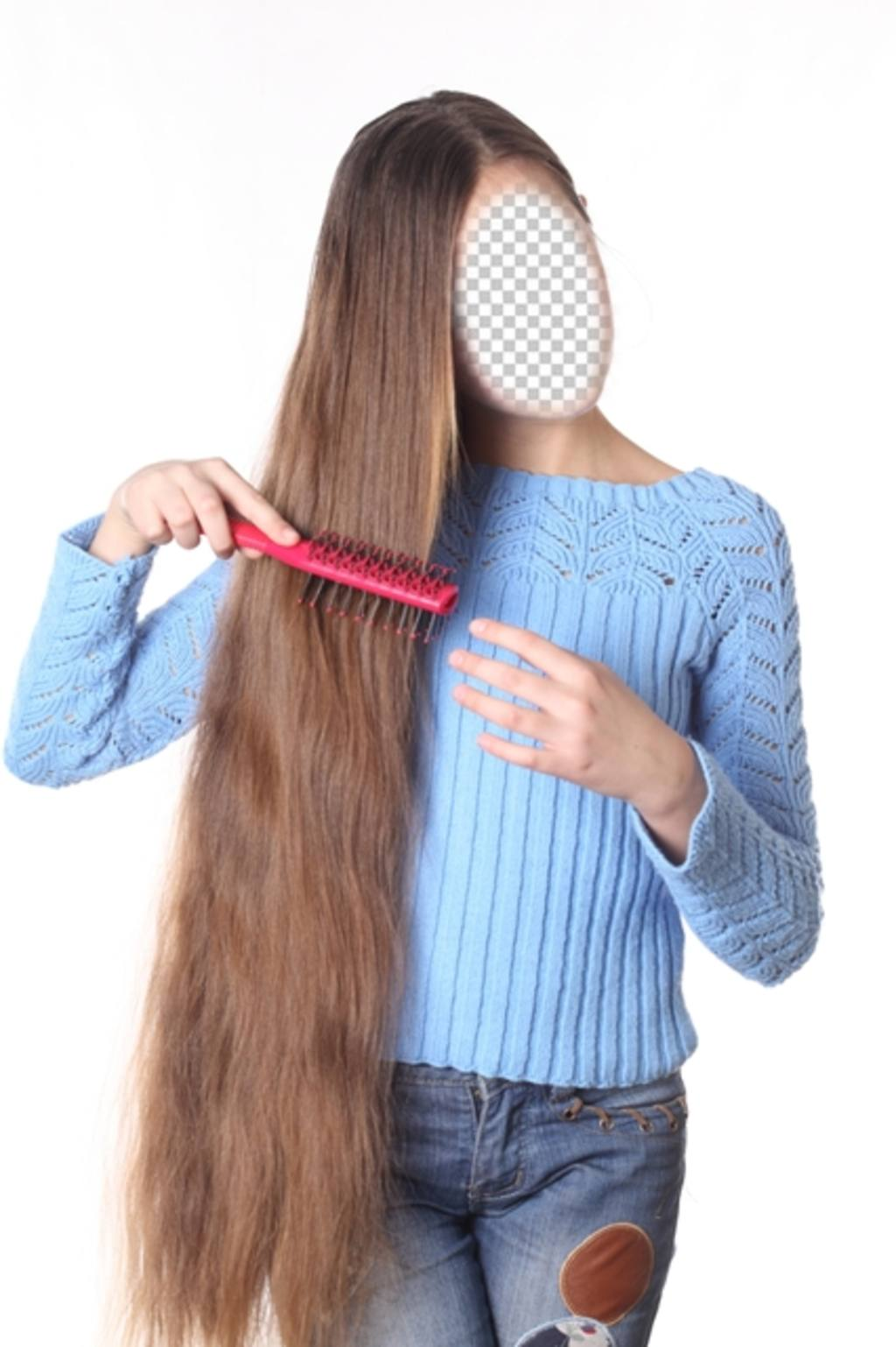 Photomontage of a girl with extra long hair to personalize with your ...