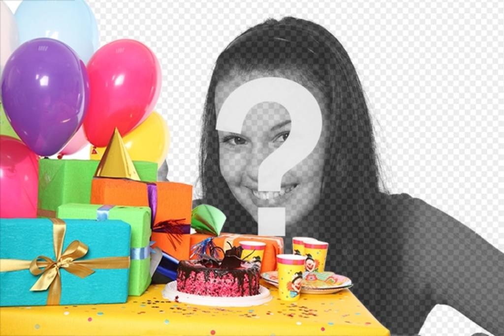 Birthday card with a party with gifts, balloons and a cake to add a photo and text