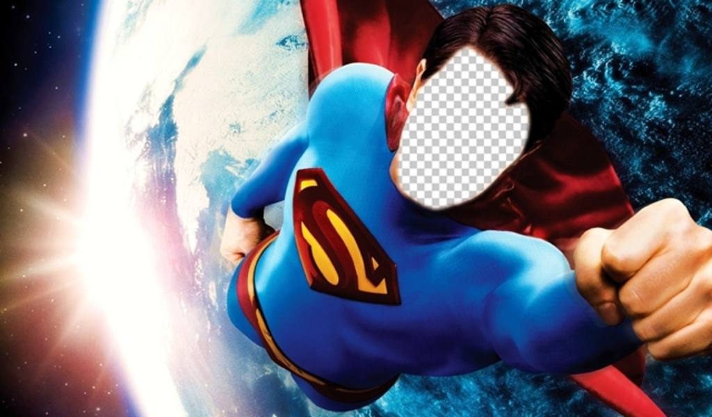 Photomontage to become Superman flying over Earth