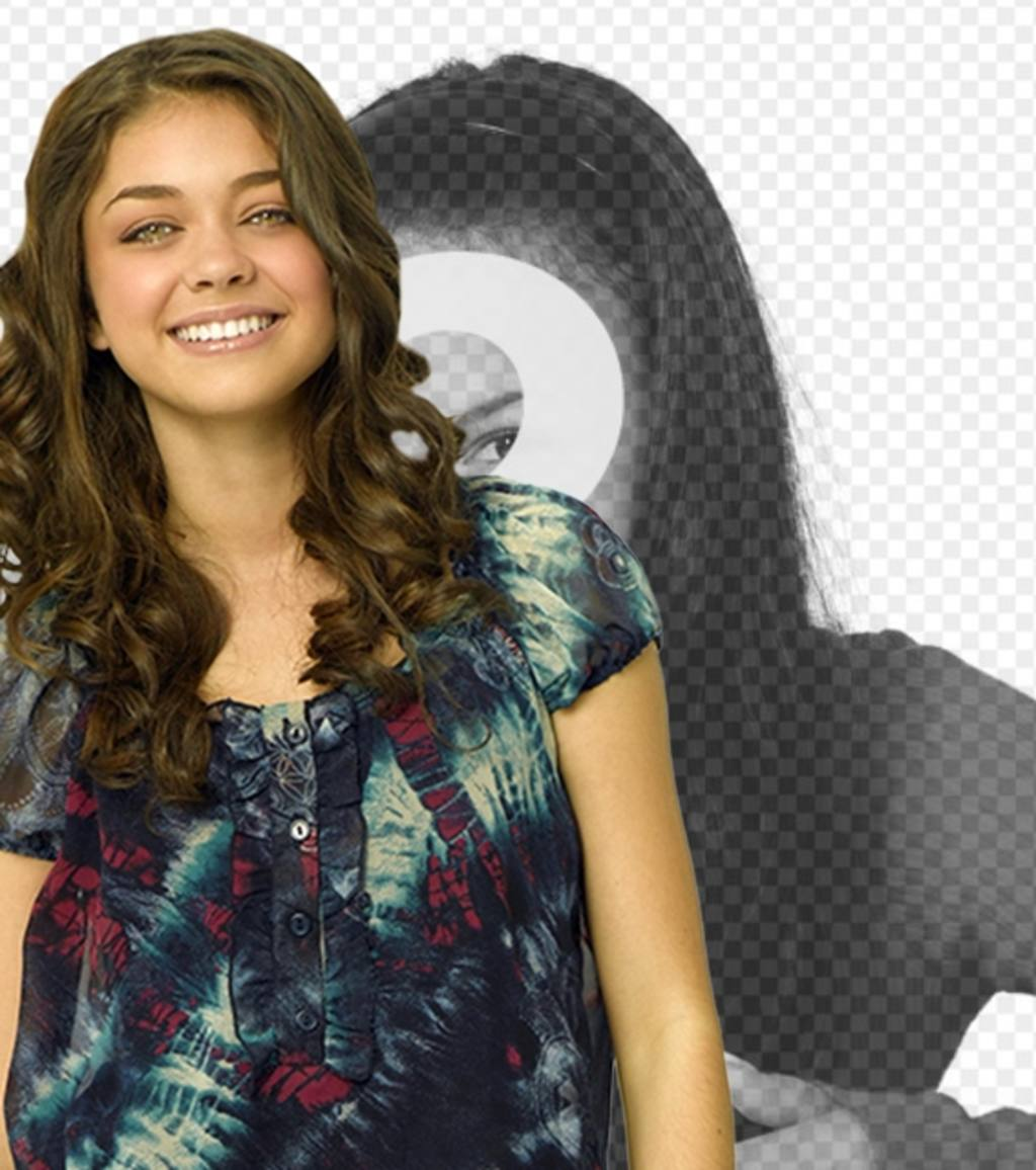 Appears next to Sarah Hyland of Modern Family in a photo with this photomontage