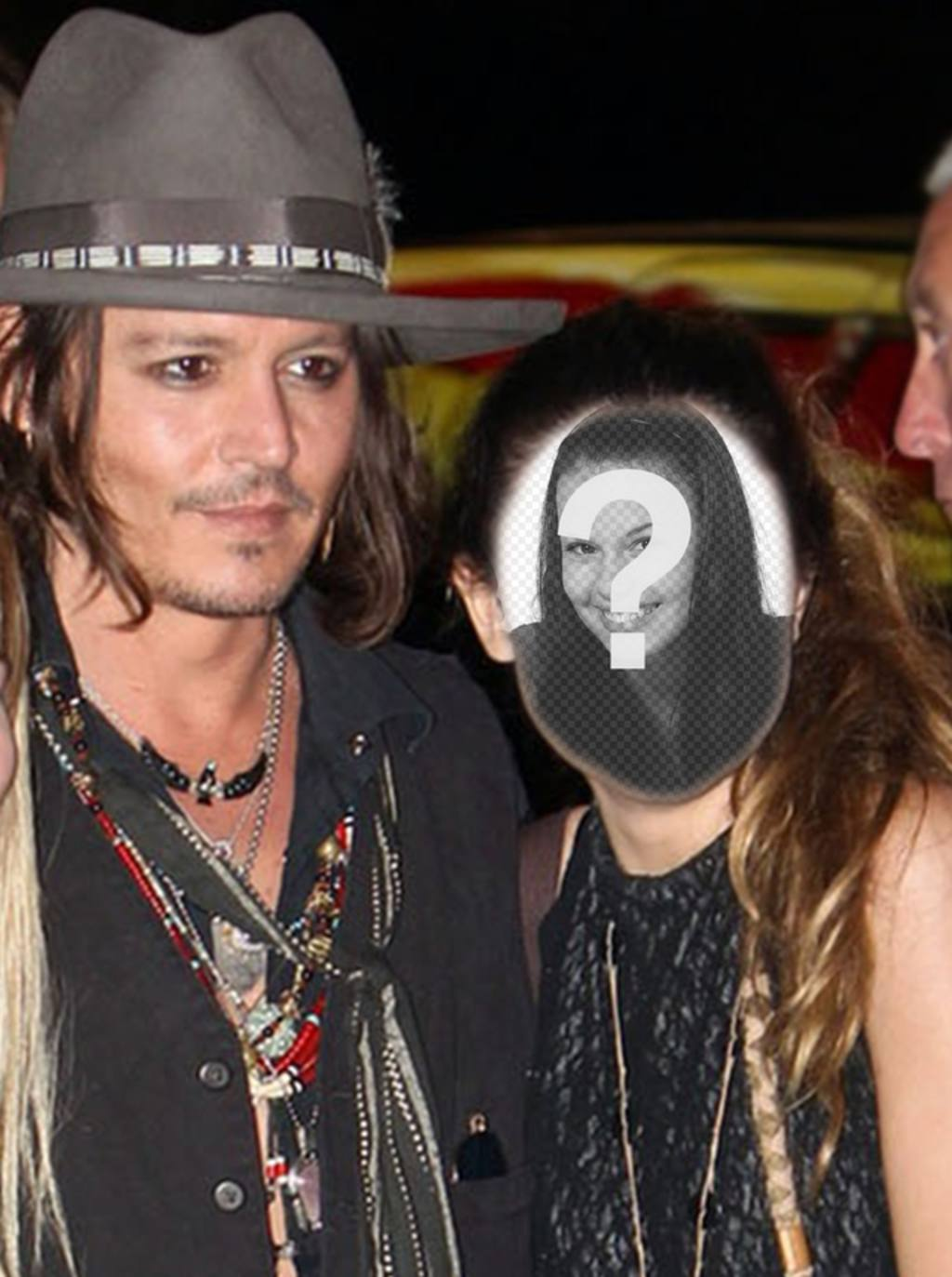 Photomontage with Johnny Depp to get a picture with him and write some text on it online