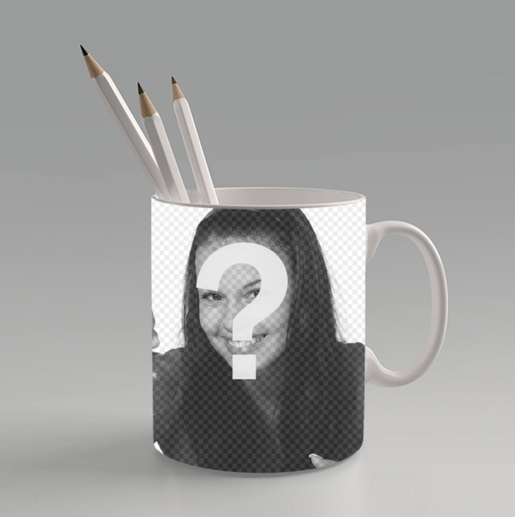 Create a photo collage online uploading a photo and put it on a cup with pens inside