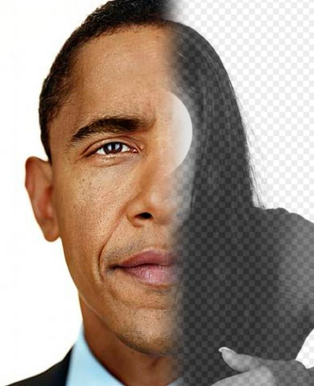 Create a photomontage with the face of President Obama mixed with half your face