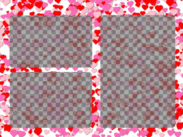 Photo frame for 3 photos of love with little red hearts and roses on white background