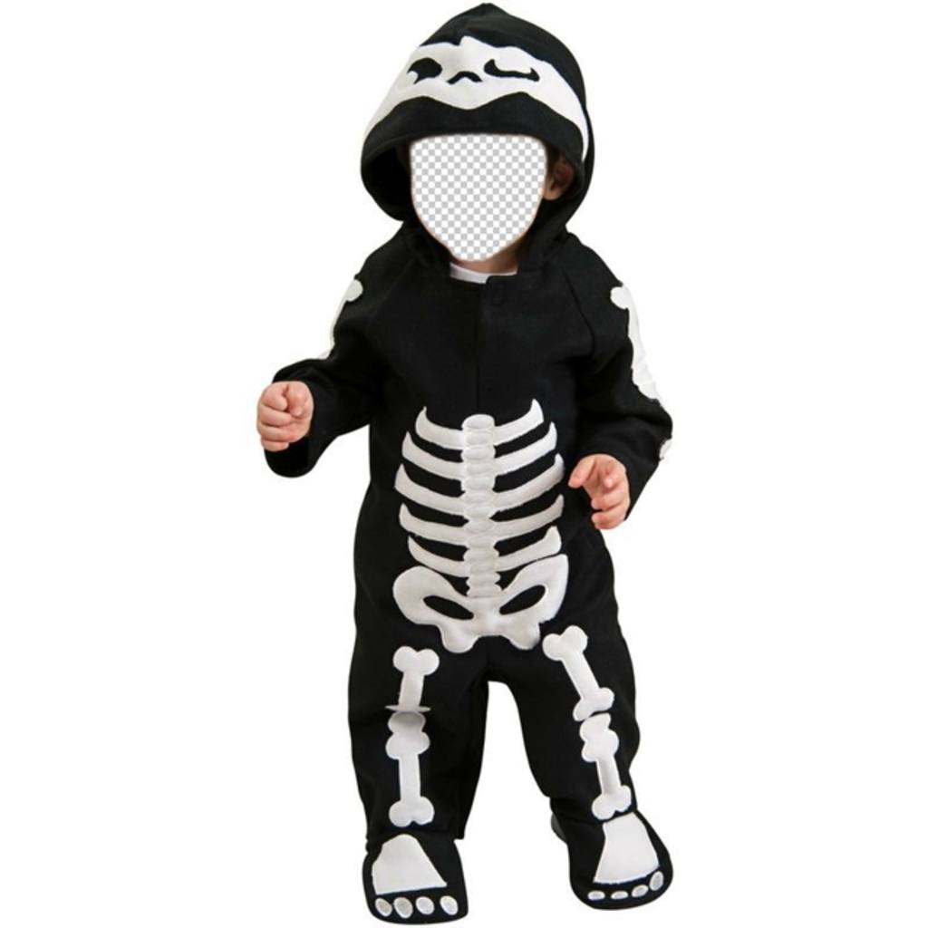 Children photomontage of a baby dressed as a skeleton