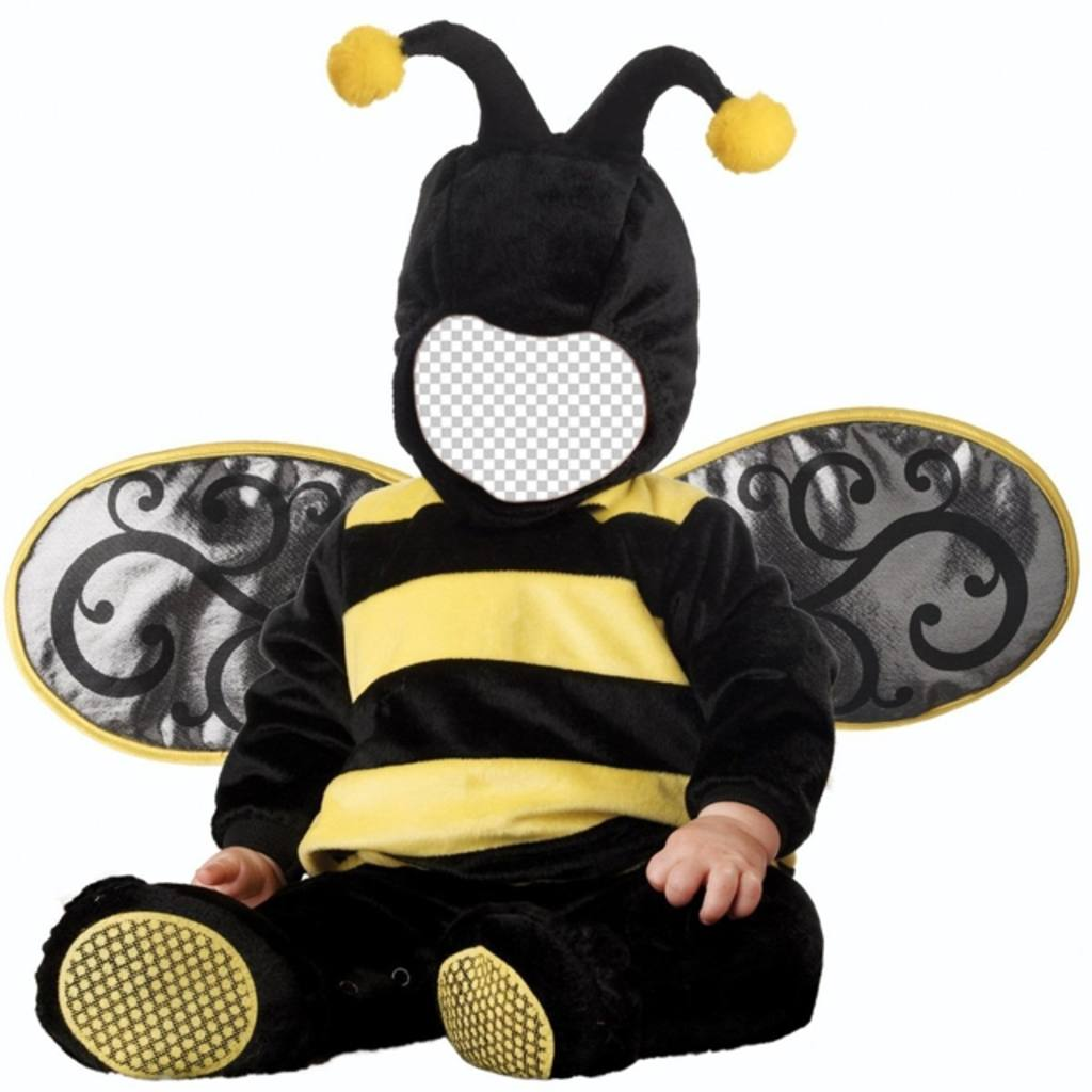 Children photomontage of baby with a bee costume to edit with your image