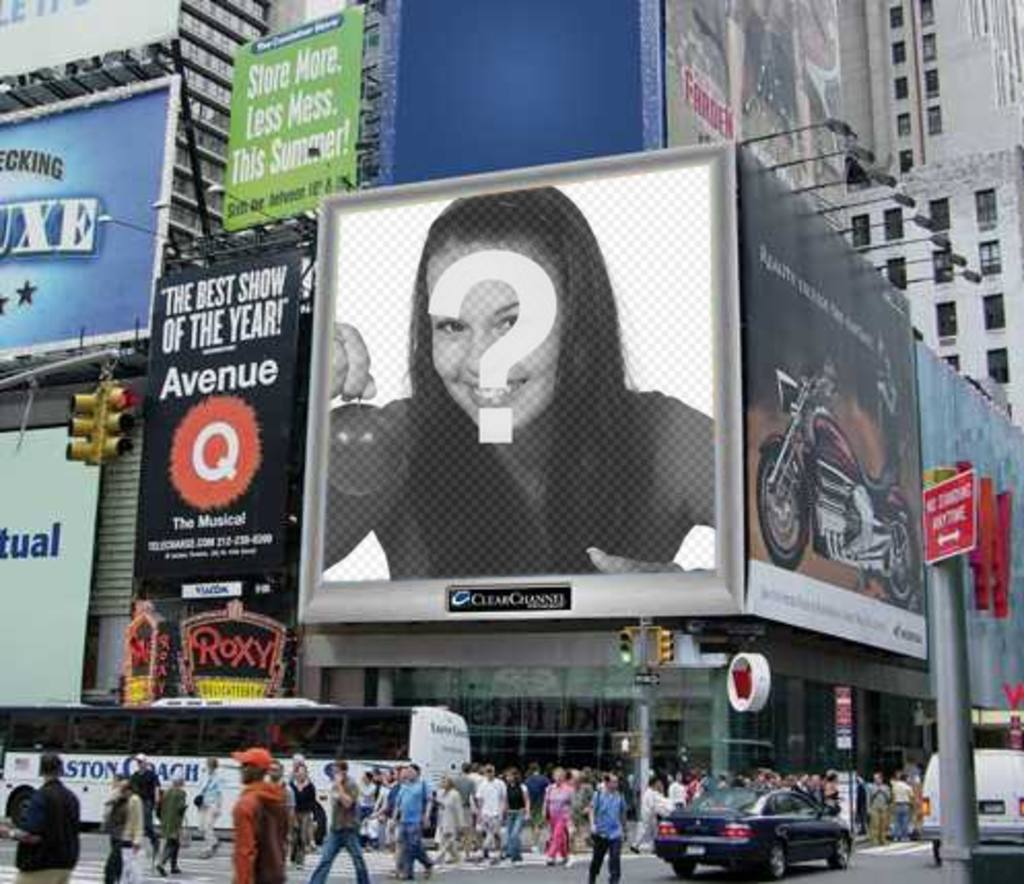 Photomontage, a staff of an urban environment, with an advertising screen, among many posters. Your photo appears on it. You can send it as a joke to your friends
