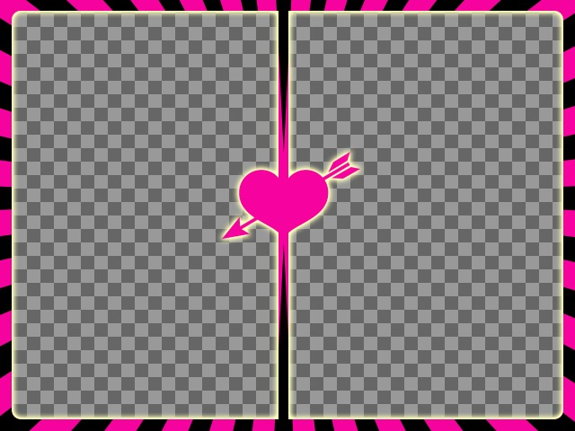 Fuchsia and black frame for two photos with a heart with arrow in the center to create photo collages with your romantic pictures
