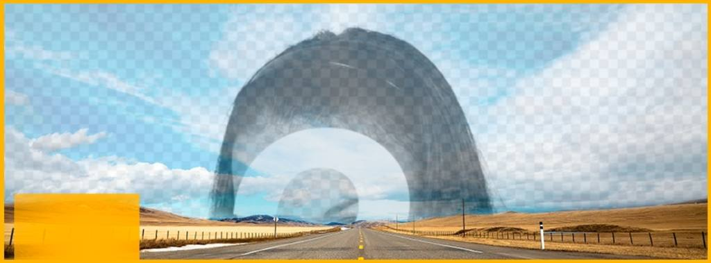 Header for Facebook to create a collage in the sky of this photo with a road and superimpose a photo you uploaded online