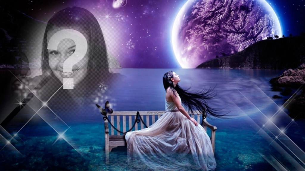 Create a fantasy collage into a dreamscape with the moon and the sea in the background and a picture of yourself melting into the starry sky