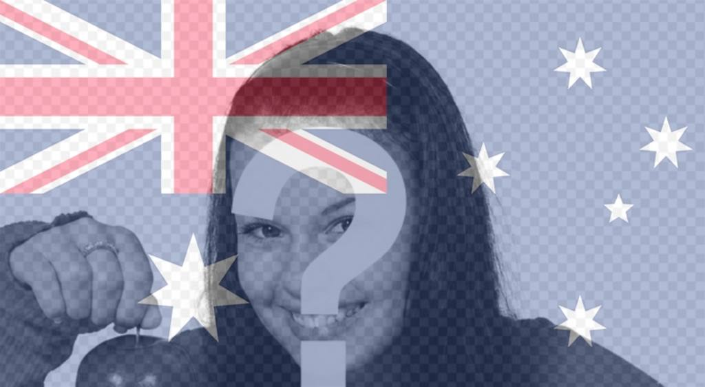 Photo frame with the flag of Australia vertically to customize your photos