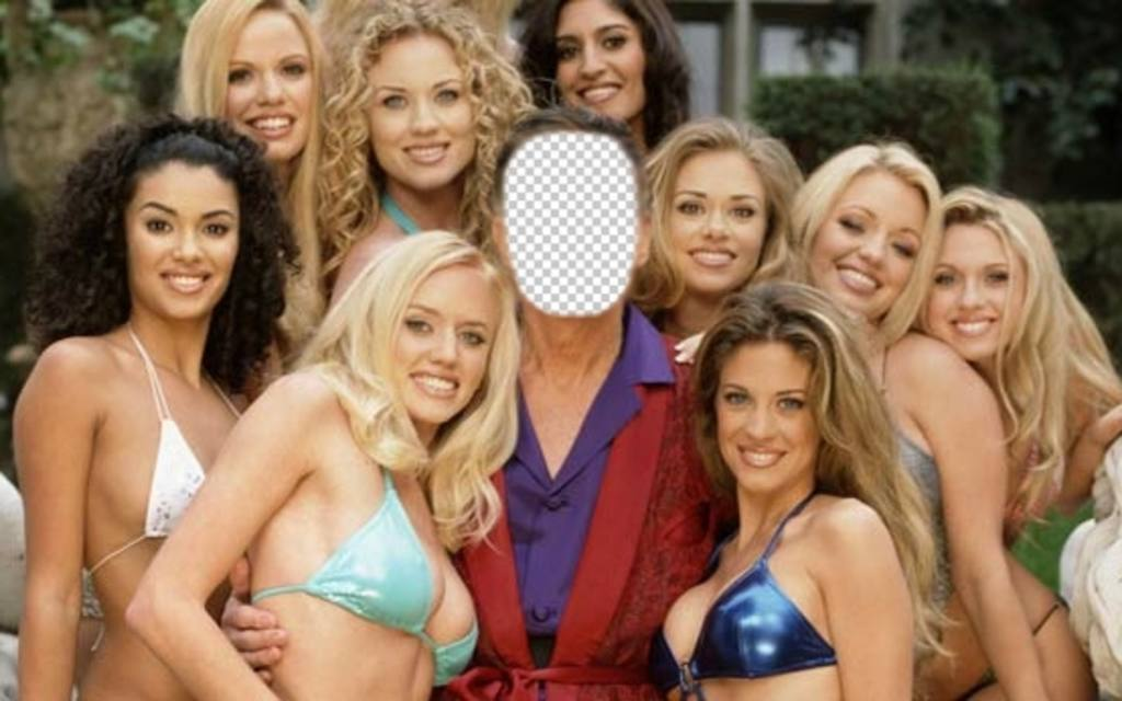 Photomontage that you will be Hugh, surrounded by girls of Play Boy