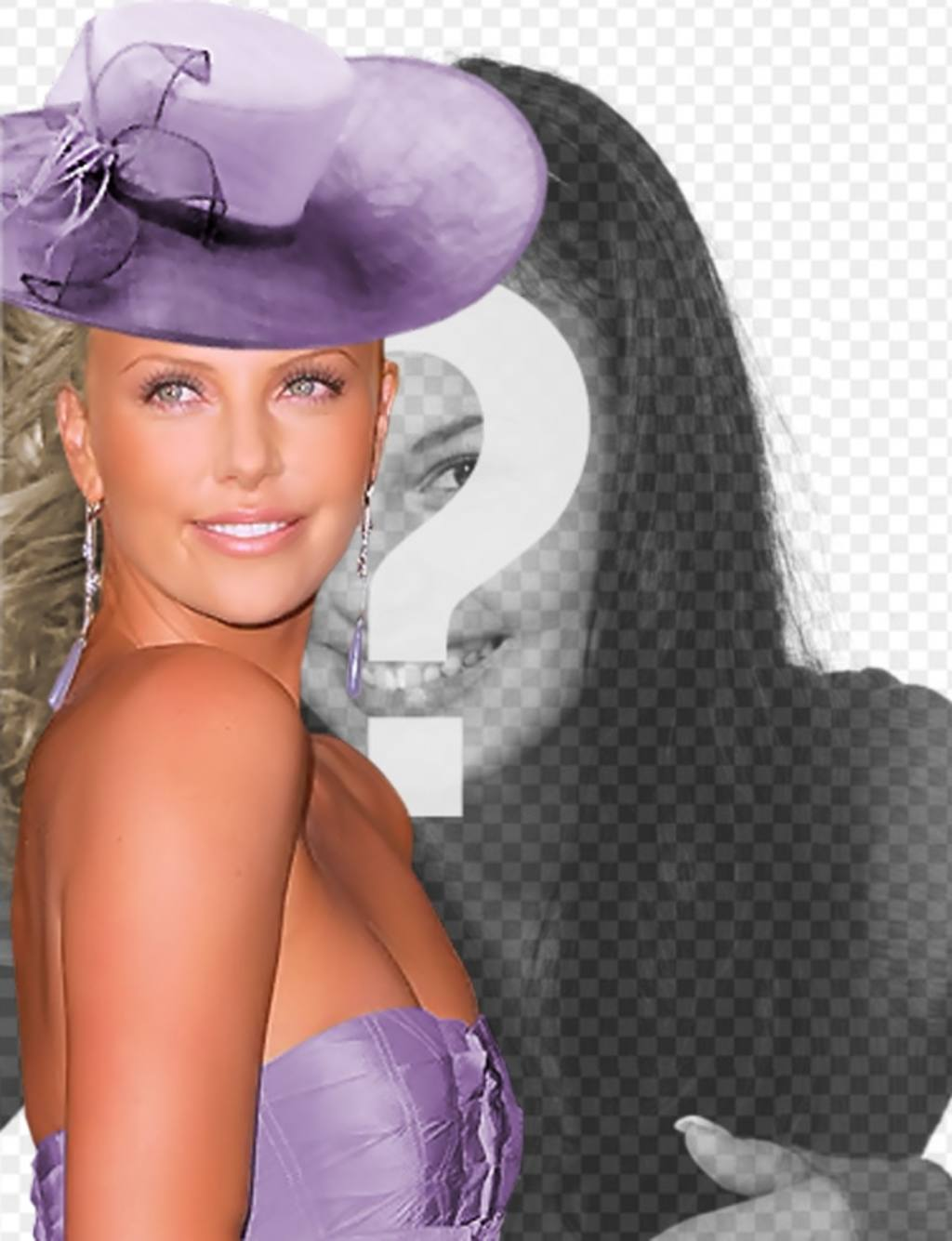 Create photomontages with Charlize Theron gala dressed in a gown purple and a matching hat beside you