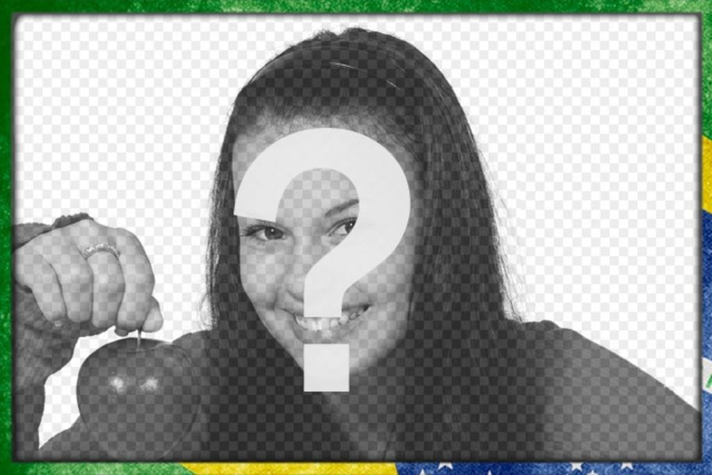Photo frame with brazil flag with a grunge style to customize your photos and add text online