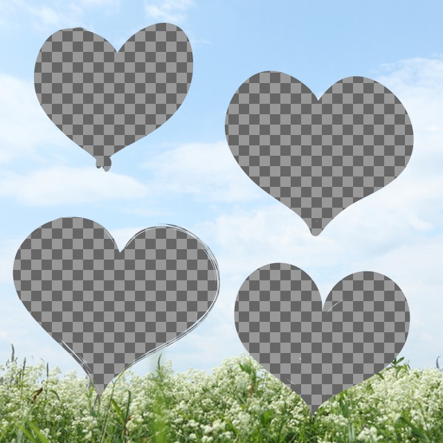Create a collage of love with hearts with photos of your choice on a background with a photo of a landscape with a blue sky and a field of flowers