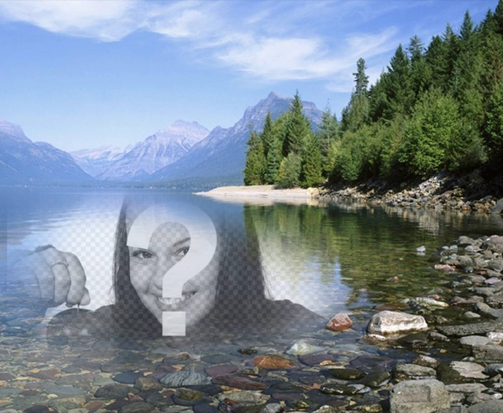 Photomontage to put a photo in the water of a lake or river beside a forest with trees and snow capped mountains