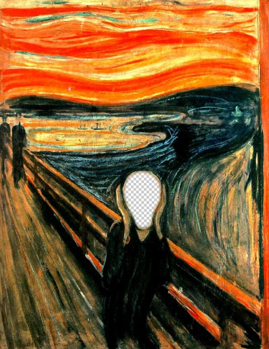 Photomontage of the picture The Scream by Munch to put the photo of your choice
