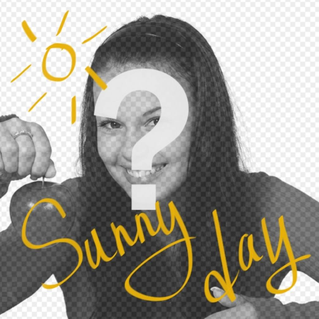 """Square shaped collage with the sun and yellow text that says """"Sunny Day"""" to put on your photographs"""