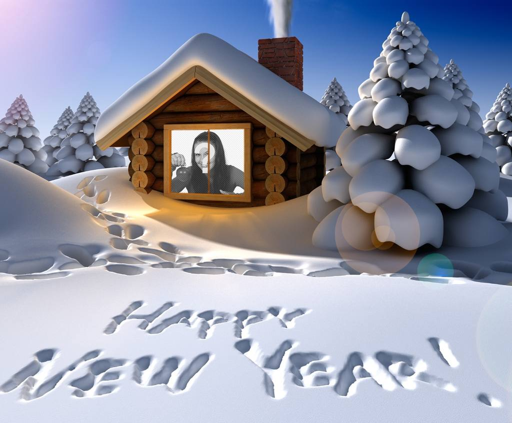 Original new year greeting card written on snow with your photo inside a snow house