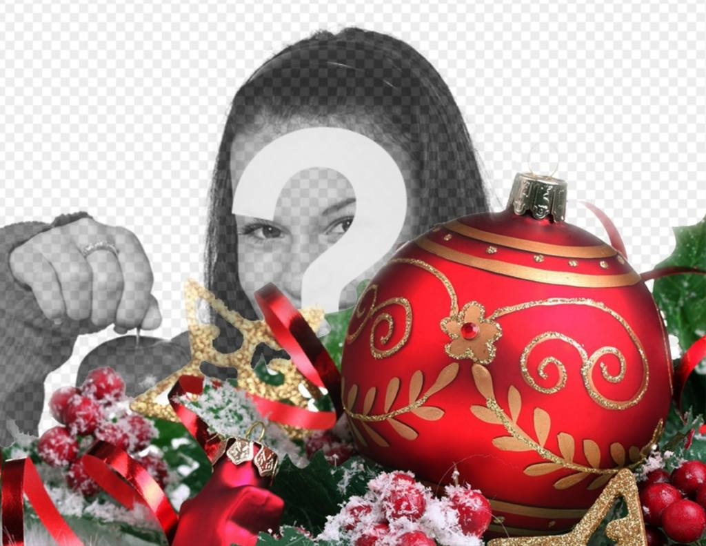 Decorate your pictures online with a huge red ball of Christmas