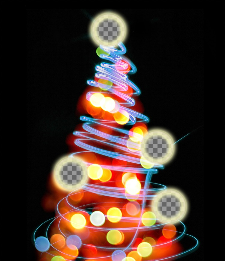 Photomontage Christmas tree where you can put 4 pictures on the lighted balls