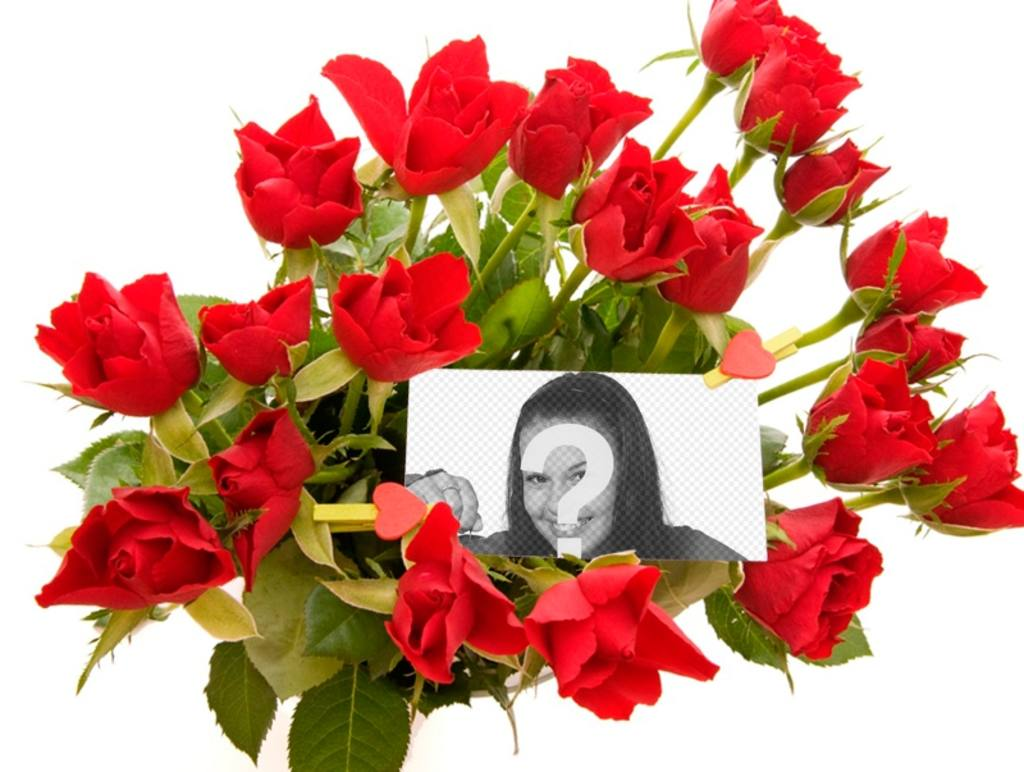 Photo effect to add a photo in the middle of a bouquet of roses