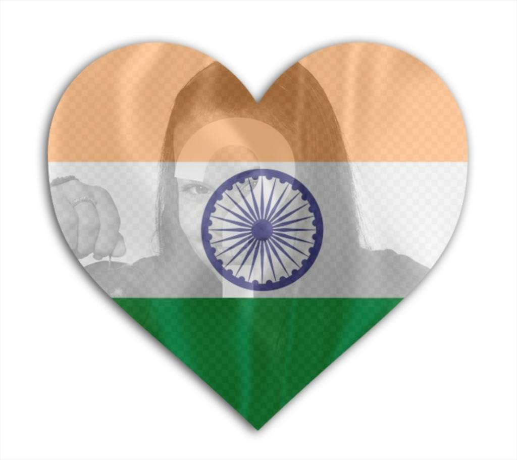 Photo montage of the Flag of India with heart shape to put on your picture