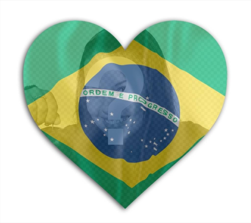 Photomontage to put the Brazilian flag in heart shape with your photo in background