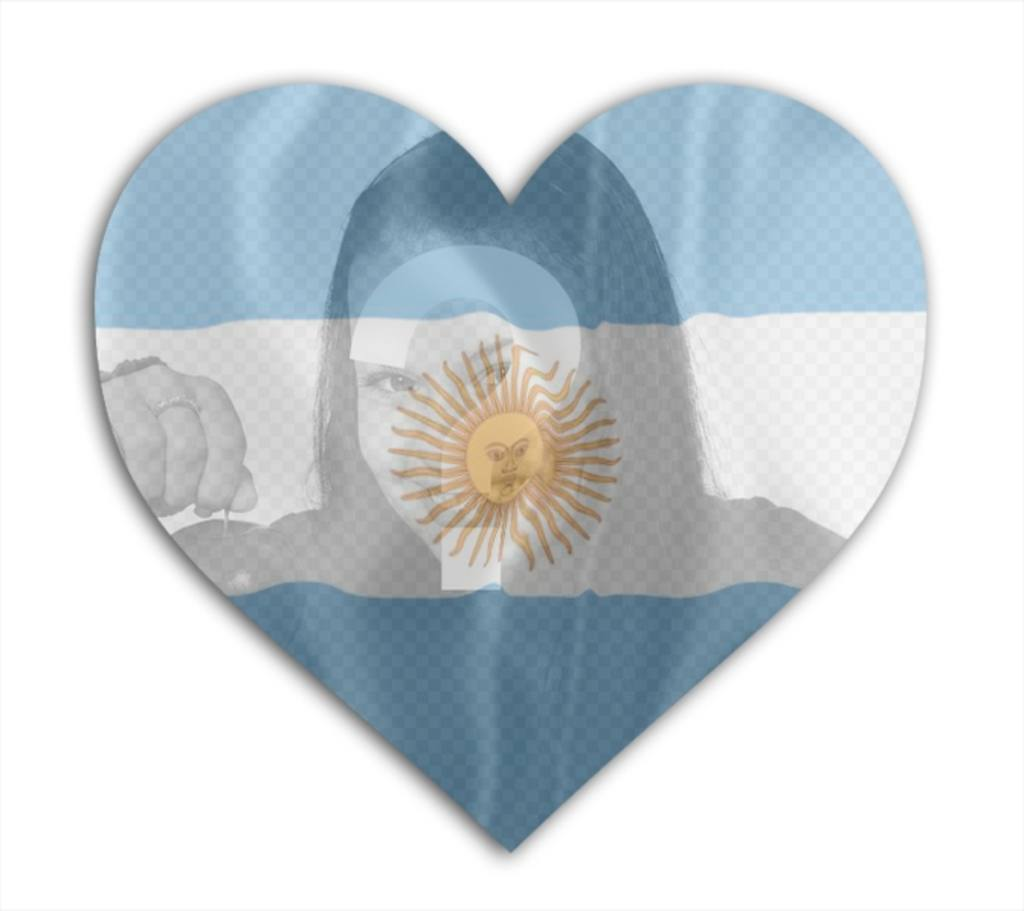Insert your photo with the flag of Argentina with heart shape background