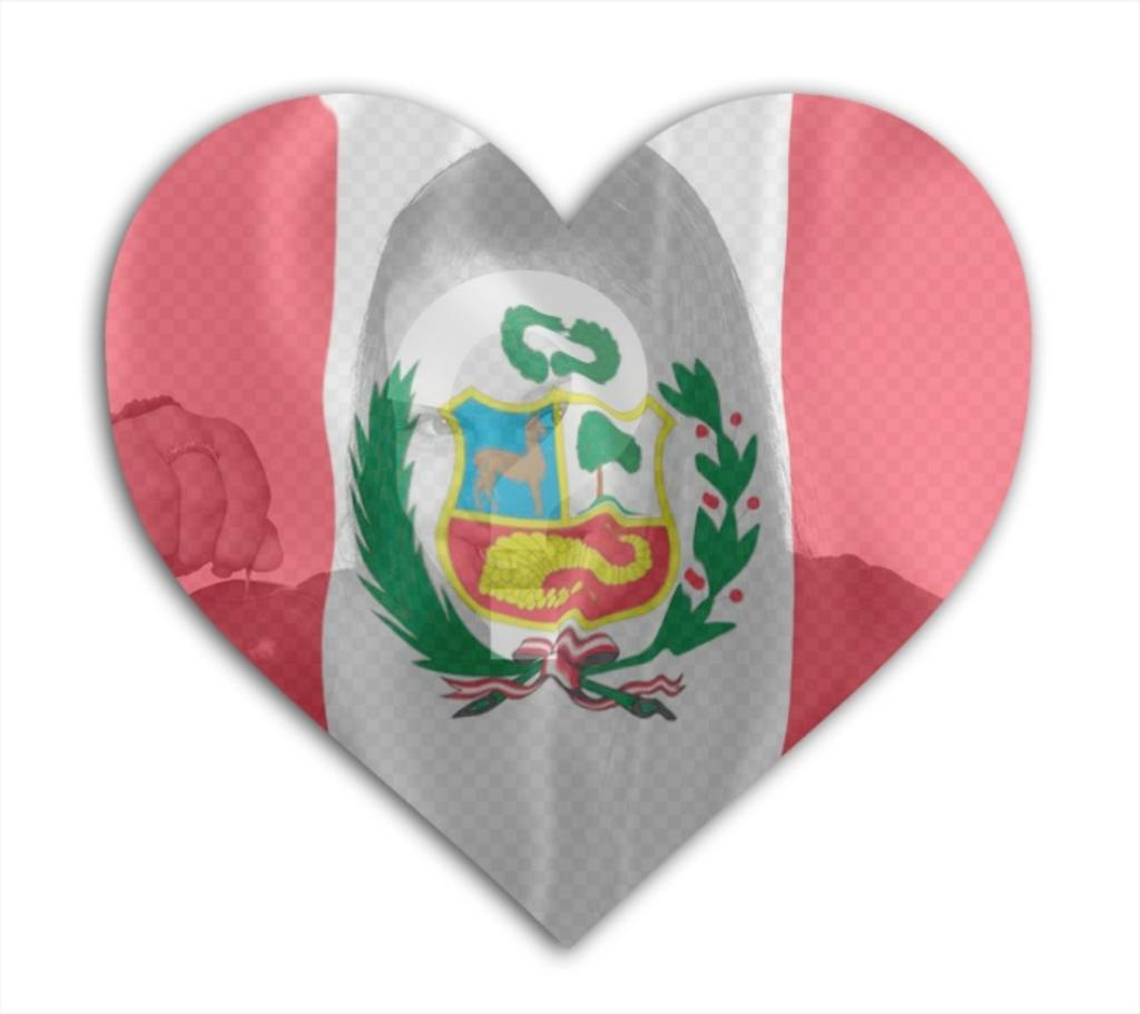 Photomontage online to add a photo of yourself with the flag of Peru background with heart shape
