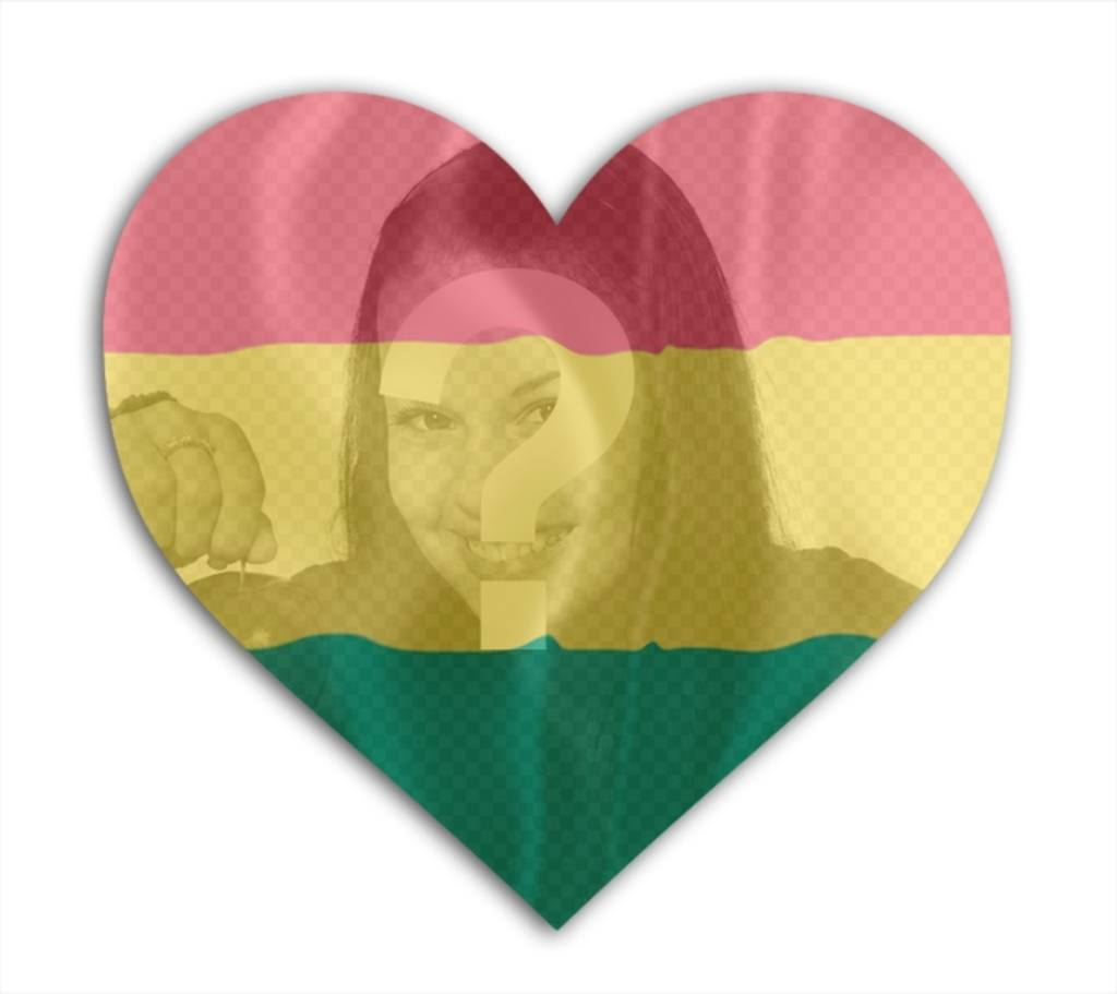 Photomontage with flag of Bolivia with heart shape in which you can add your photo background