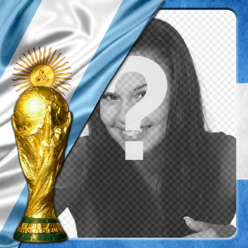 Photo frame with Argentina flag to support your team in the World 2014