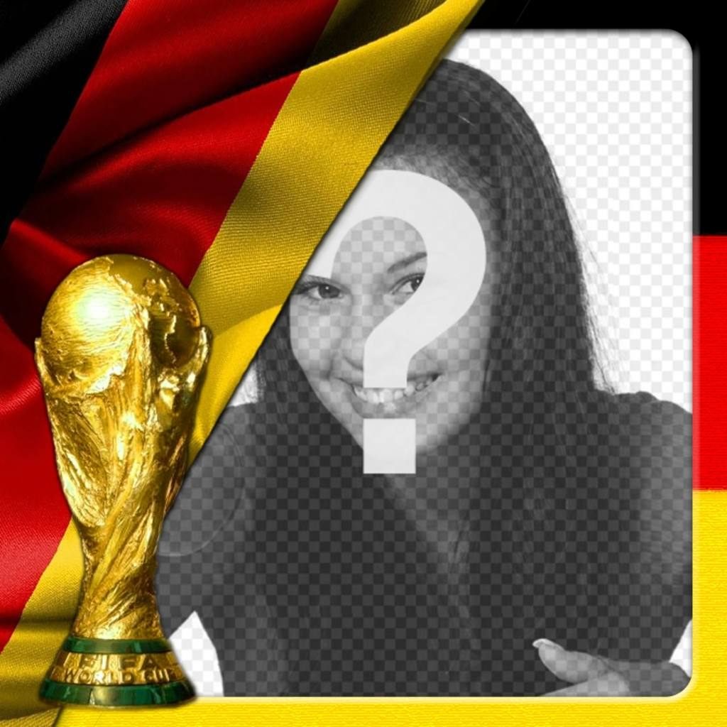 Montage to put your picture with Germany flag and world cup. Make a photomontage