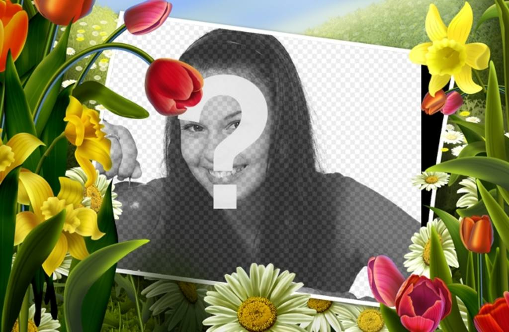 Photo frame with drawings of flowers and spring plants
