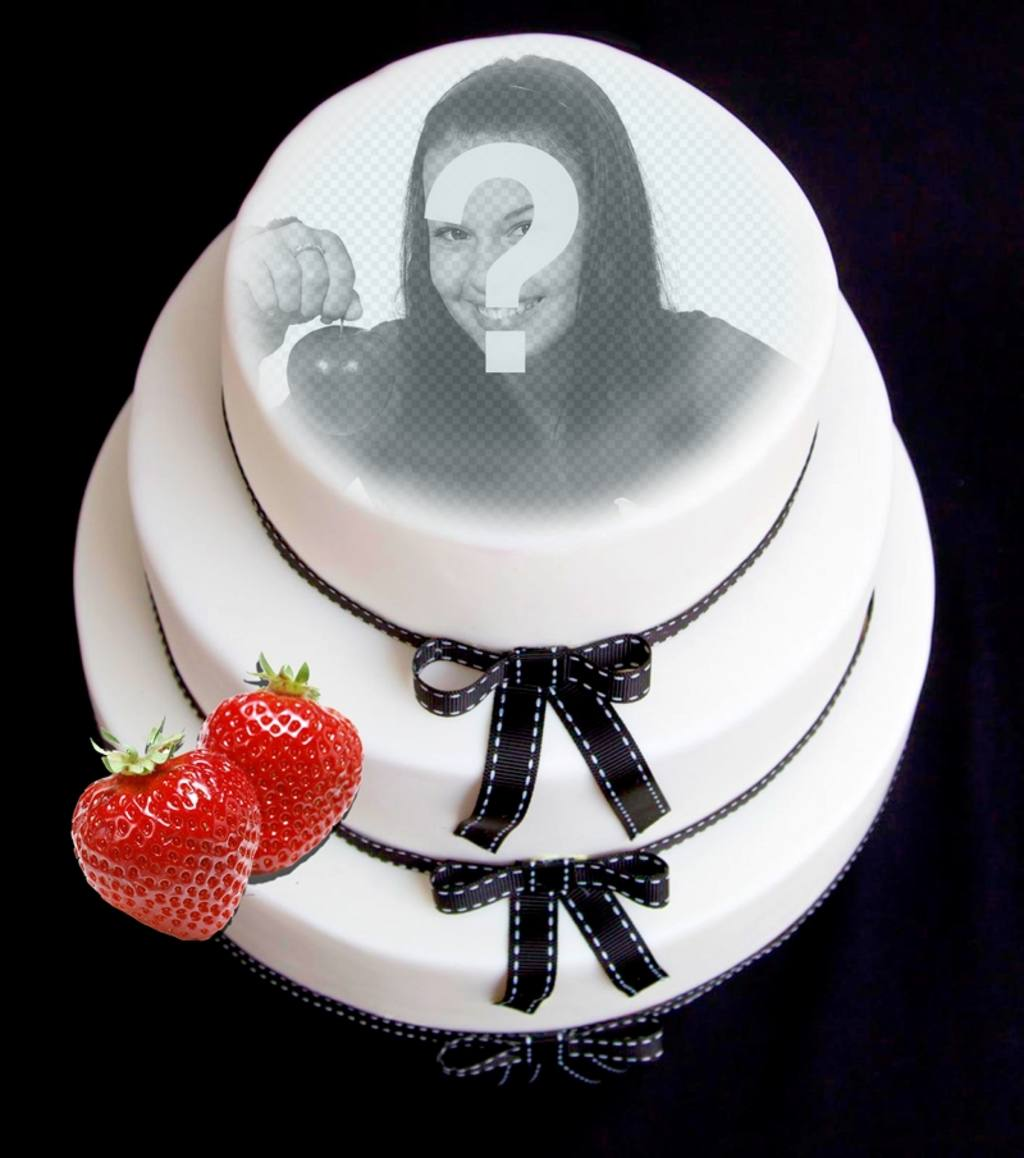 Photomontage to put your face on a fondant cake with strawberry