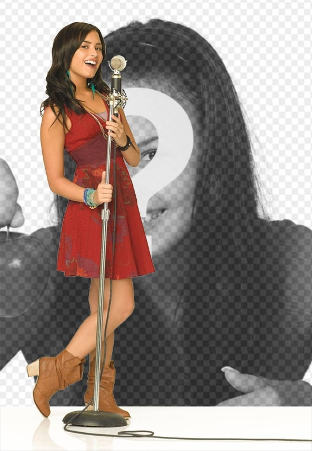 Photomontage of Camp Rock 2 with Demi Lovato singing