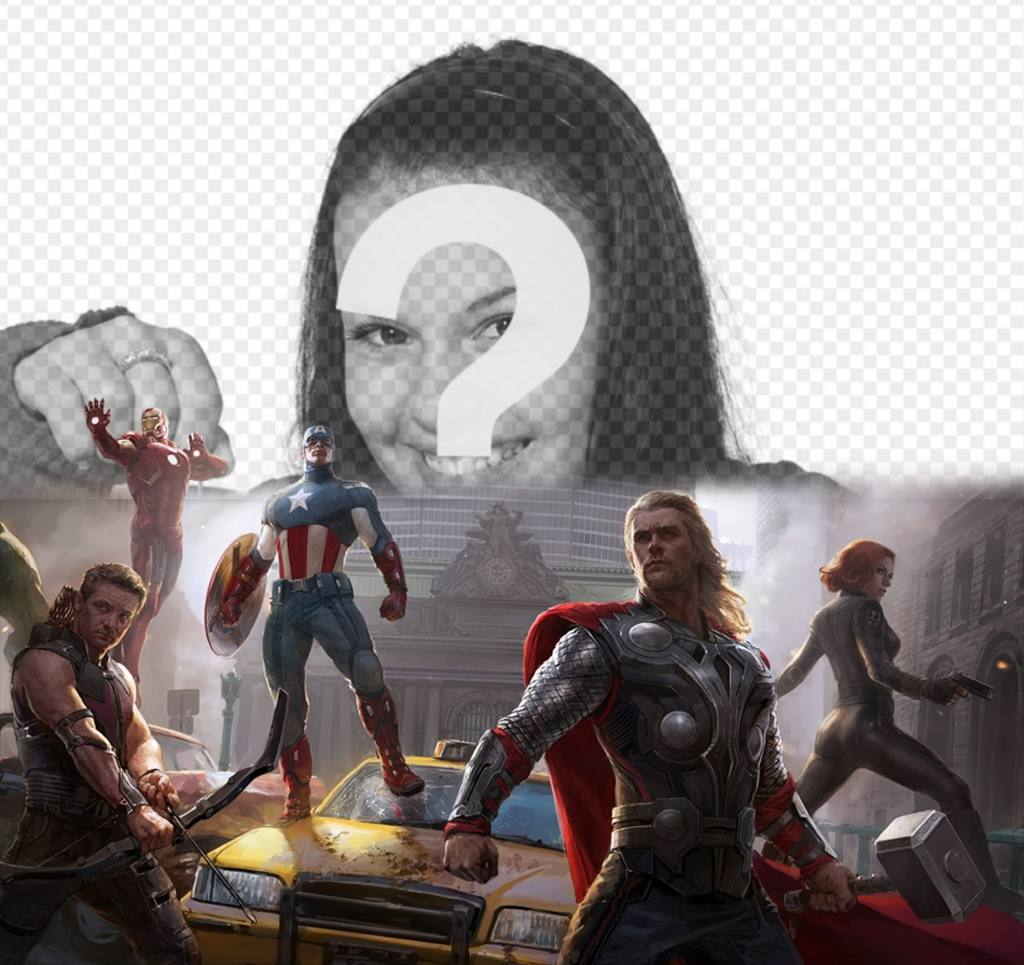 Photomontage of the first Avengers defending the city with your photo above