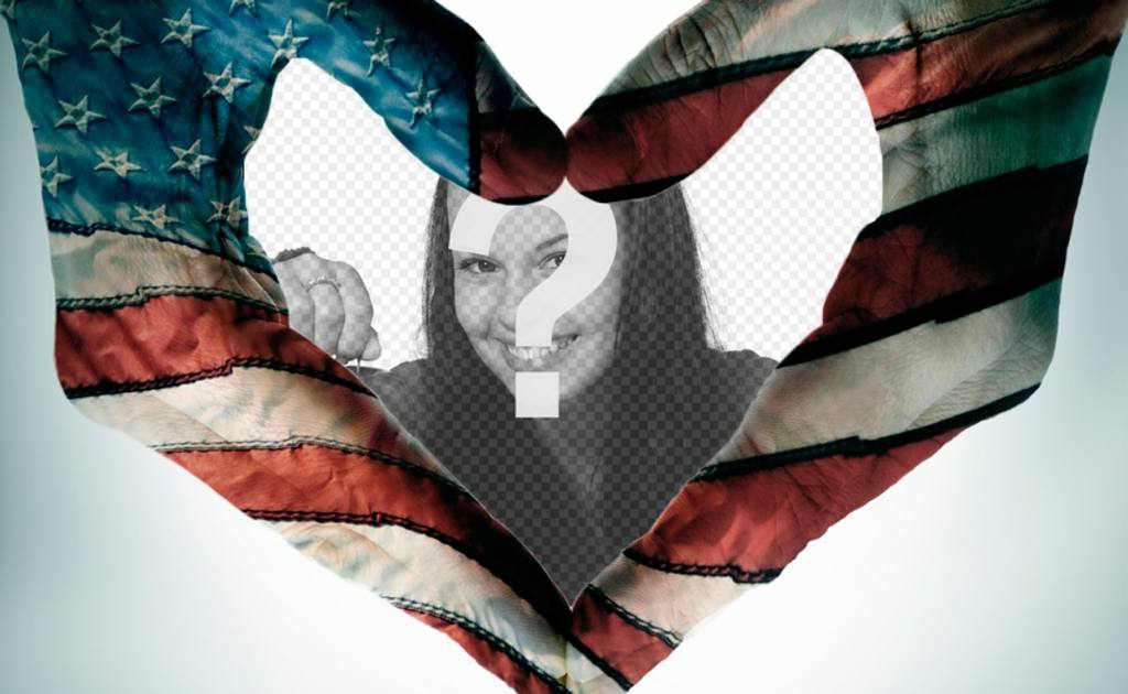 Heart-shaped frame with the flag of the United States as background
