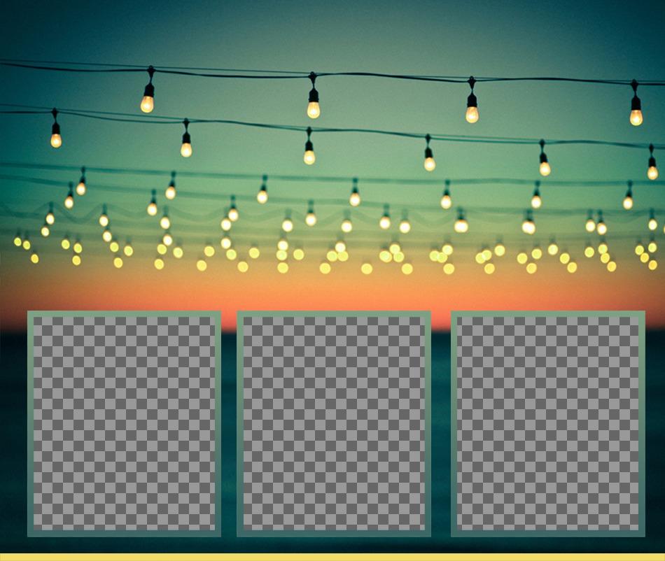 Photo Frames on festive lights in the beach, festival