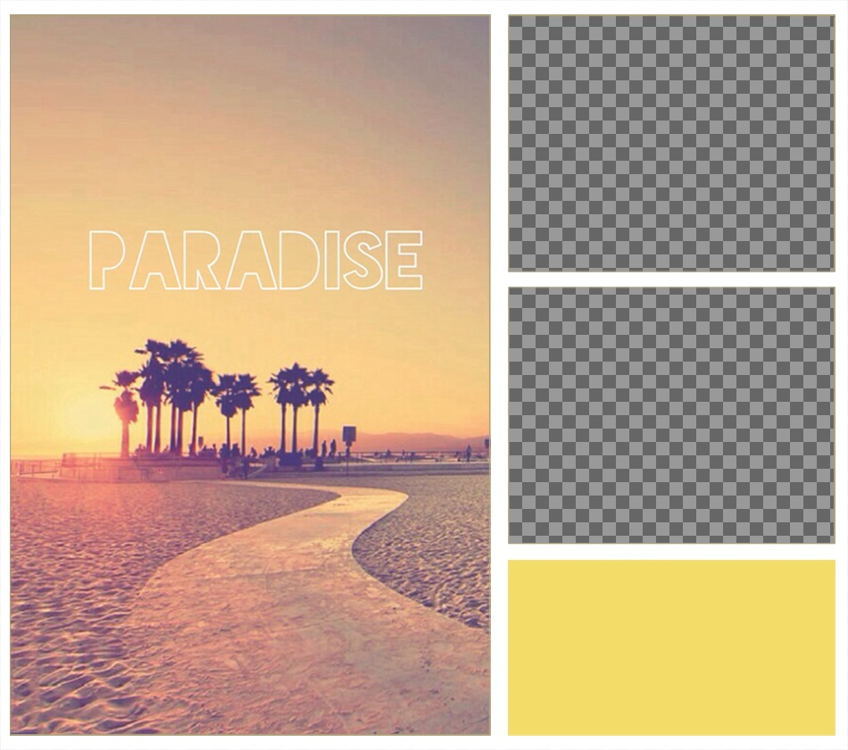 Frame for two photos with an indie background, a paradise of palm trees