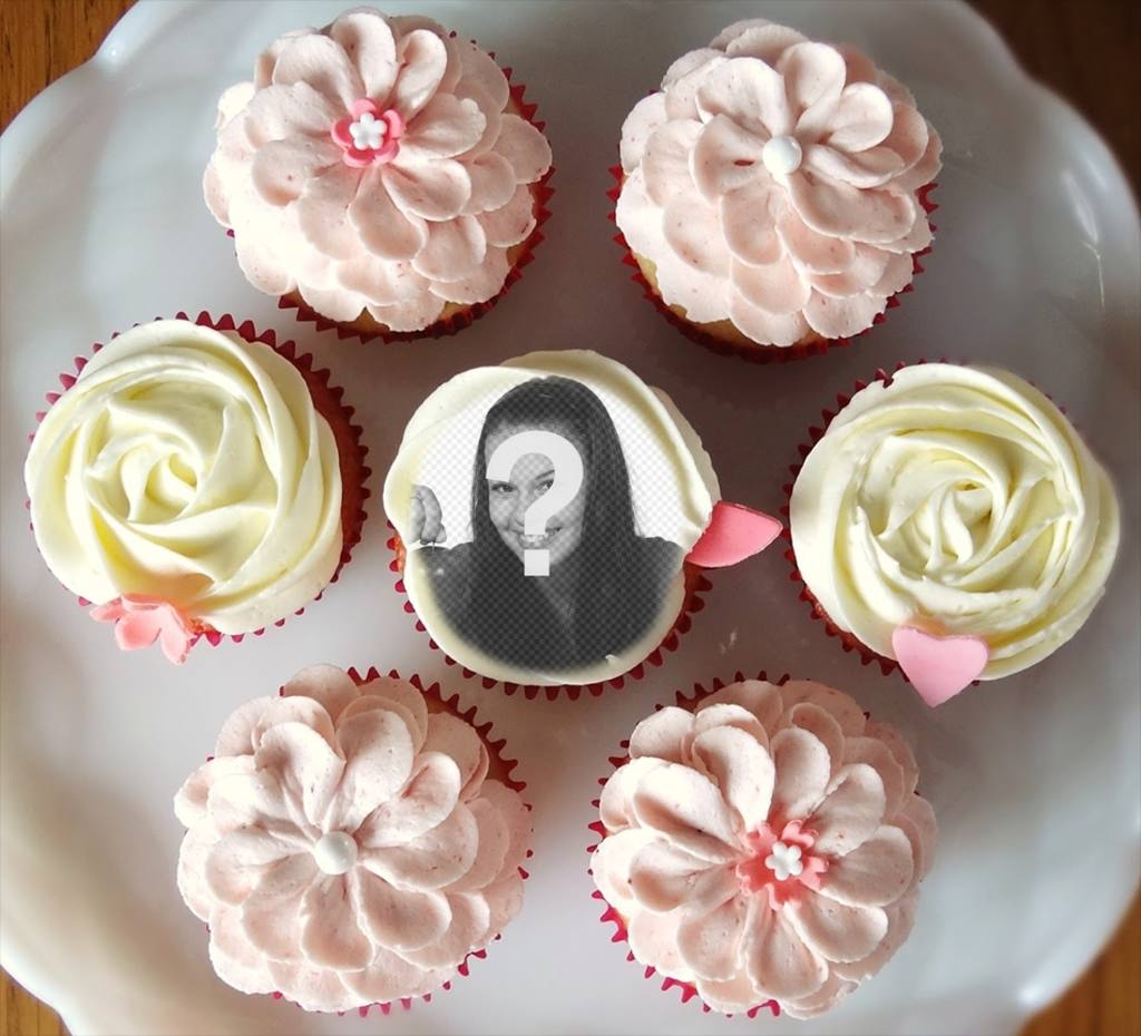 Photomontage to put your photo inside a cupcake, surrounded by many