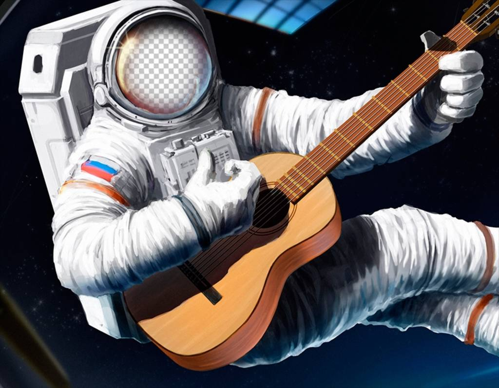 Photomontage to put your face on an astronaut with a guitar