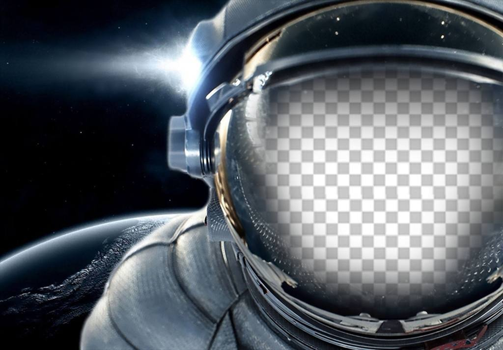Put your face in a spacesuit floating in space