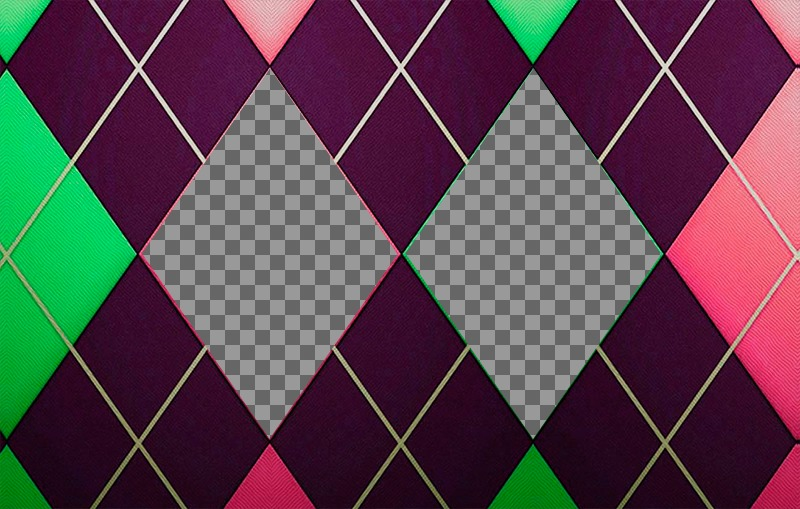 Collage for two pictures with a diamond patterned green, pink and purple tweed