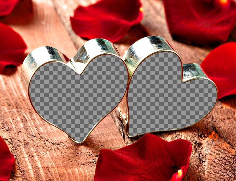 Collage of love with your two hearts ring photographs